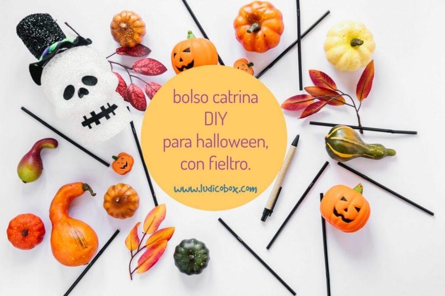 bolso catrina DIY para halloween, con fieltro.