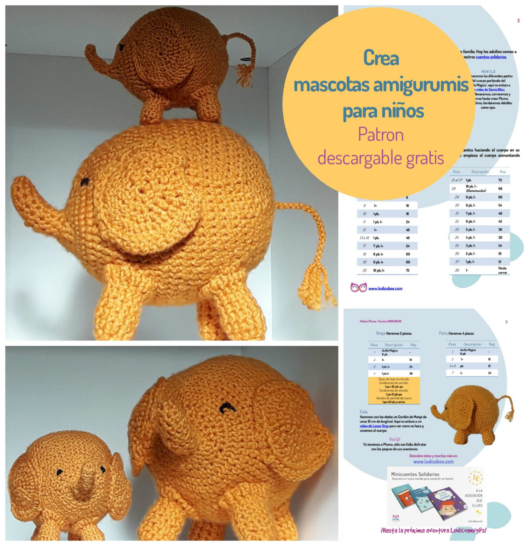 Amigurumi elefante, para crear y regalar a los niños. | Ludicobox